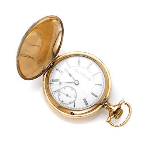 A tri-color gold filled hunting cased pocket watch, Elgin