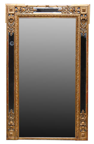 A Louis XVI style carved giltwood and gesso mirror  late 19th century