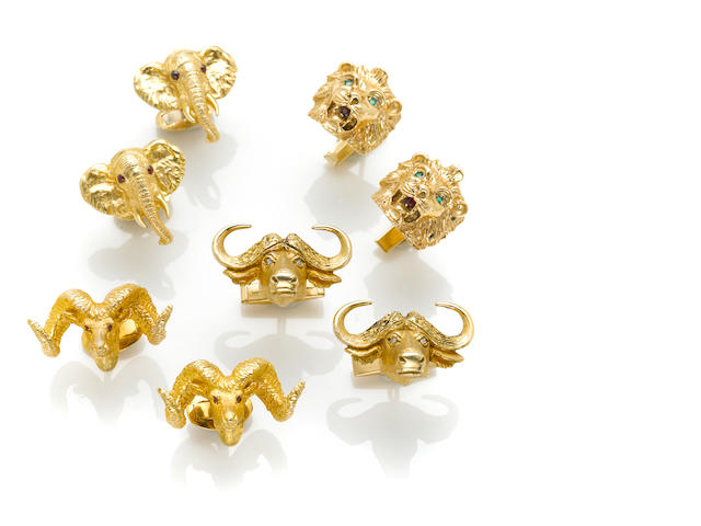 A collection of five pairs of 14k yellow gold, diamond and gem-set cuff links