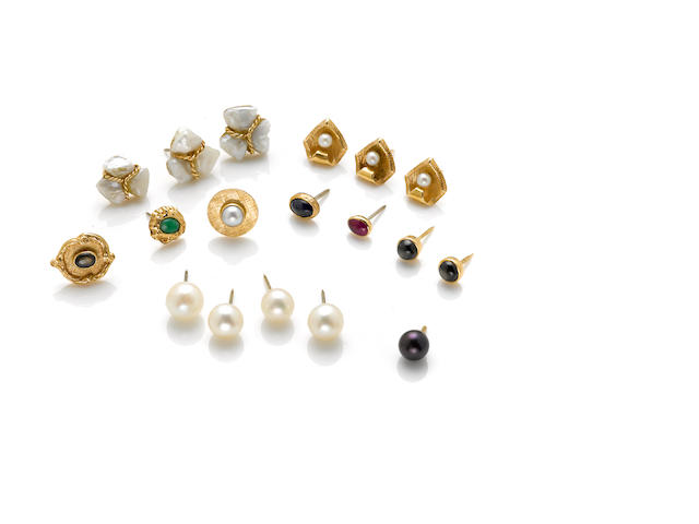 A collection of eighteen gem-set, gold and metal tie tacks