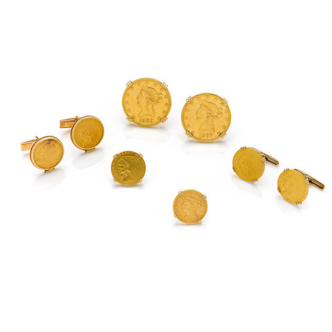 A collection of American gold coin jewelry  three pairs of cuff links and two tie tacks set with the following coins: two ten dollar coins; 1900-plain and 1907-S; six 2 1/2 dollars coins; 1854-plain, three 1911 (mint mark not visible), two 1926 (mint mark not visible),