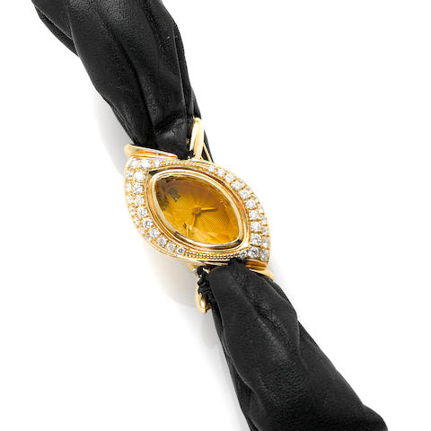 An Audemars Piaget diamond, gold and leather strap wristwatch