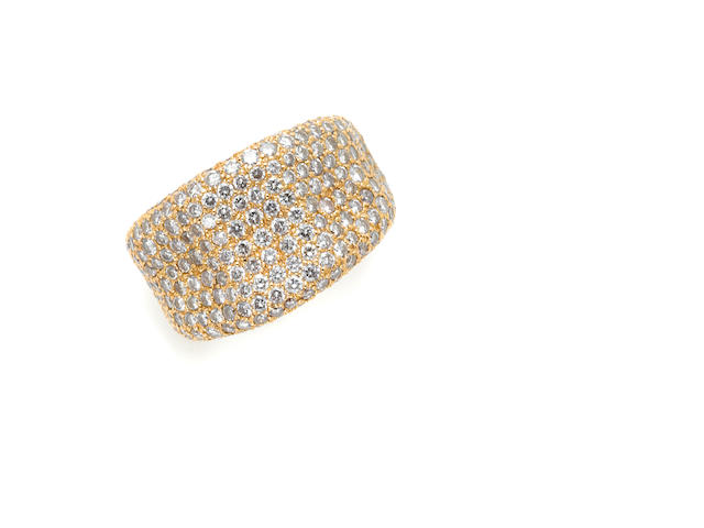 A pave set diamond and 18 karat pink gold 'wave' band