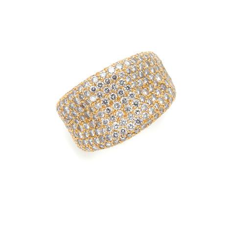 A pave set diamond and 18 karat pink gold 'wave' band