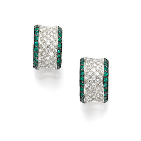 A pair of diamond, emerald and 18k white gold earrings, Craig Drake