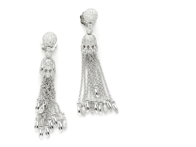 A pair of round brilliant cut diamond and 18 karat white gold tassel earring dangles