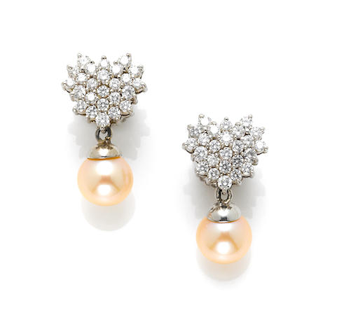 A pair of cultured pearl, round brilliant cut diamond and 14 karat 'heart shape' earring drops