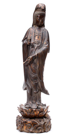 A wooden sculpture of Guanyin