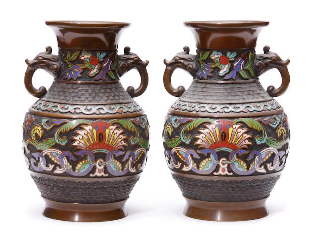A pair of cloisonne enameled bronze vases