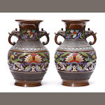 A pair of cloisonne enameled bronze vases
