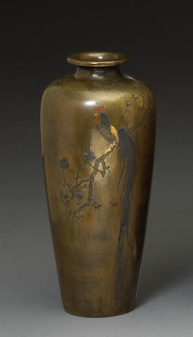 A bronze vase with cockerel on branches