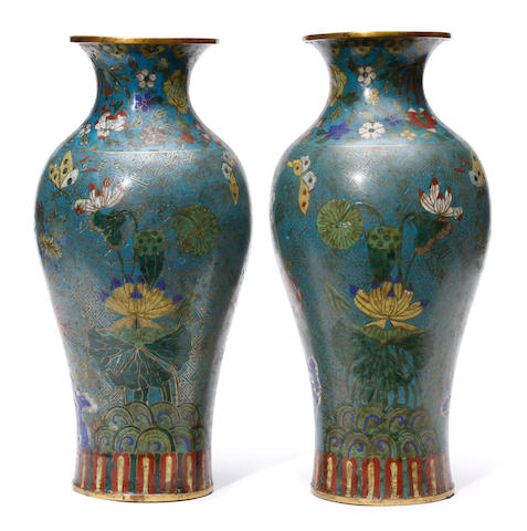 A pair of Japanese cloisonne enamel vases