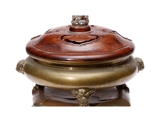 A bronze incense burner with animal mask