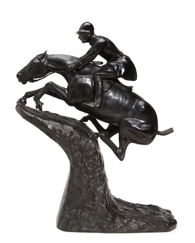 A patinated bronze equestrian group