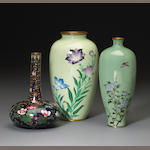 A group of three Japanese cloisonne vases