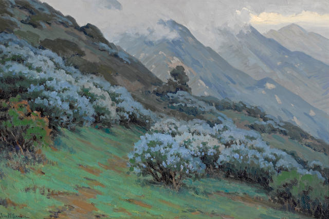John Marshall Gamble (American, 1863-1957) Morning mists, wild lilac 20 1/4 x 30 1/4in