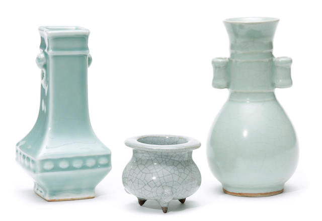 A group of three celadon vessels