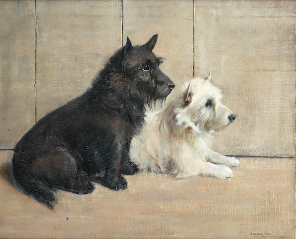 Samuel Fulton (British, 1855-1941) Scottie and Westie 20 x 24 in. (51.5 x 61 cm.)
