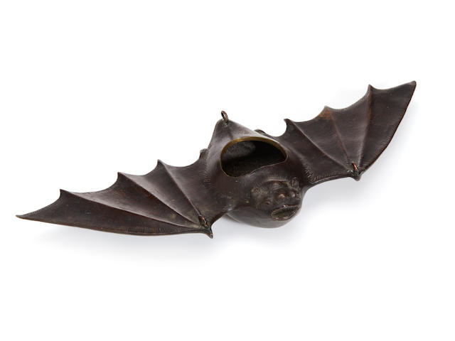 A Japanese patinated bronze figure of a bat