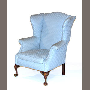 A Chippendale style style wing chair