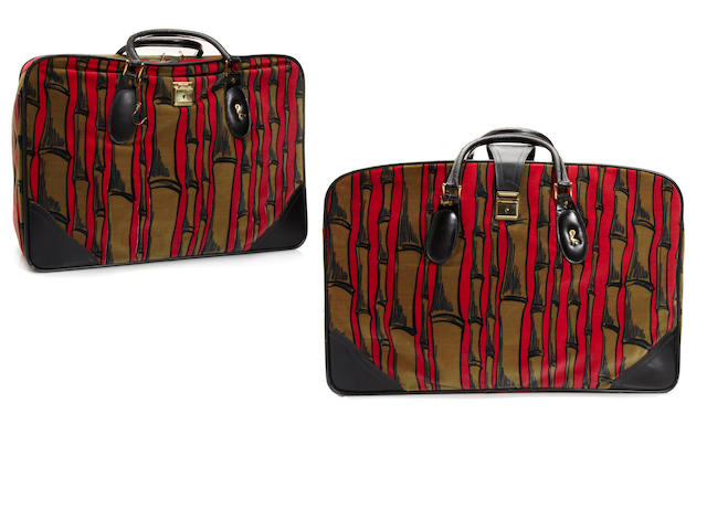 Two Roberta di Camerino soft sided suitcases, with bamboo motif