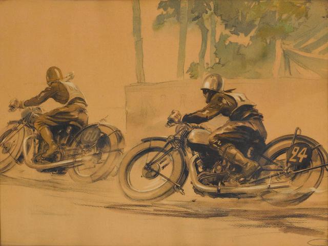 A motorcycle print by Geo Ham,