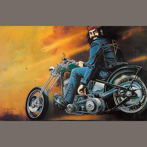A David Mann print, 'biker on a chopper',