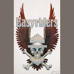 A David Mann print 'Winged Harley Skull and Crossbones',
