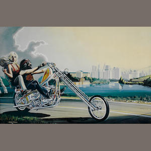 A David Mann print 'A biker couple on a Chopper',