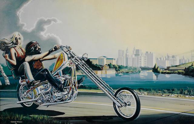 A David Mann print 'A biker couple on a Chopper',
