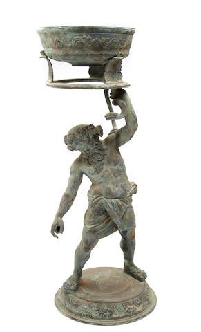 An Italian verdigris bronze figural stand of Silenus