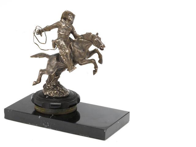 A 'Cowboy on a horse' mascot by Rene Papa, c. 1925,