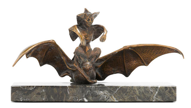 A 'Witch riding Bat,' mascot by T. Swaffield Brown, British, c. 1930s,
