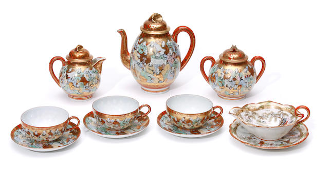 A set of seventeen Japanese style tea ware