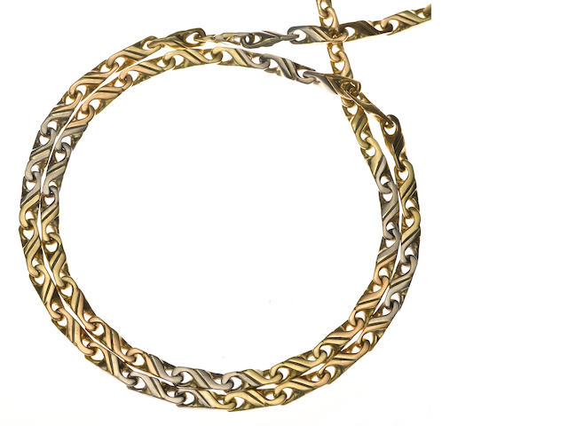An 18k tricolor gold fancy link necklace