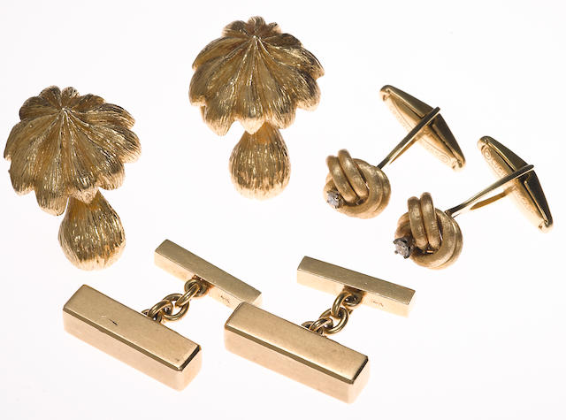 A collection of three pairs of diamond and 14k gold cufflinks, including Lucien Piccard