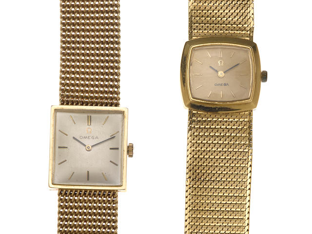 Two 18k and 14k gold integral bracelet wristwatches, Omega