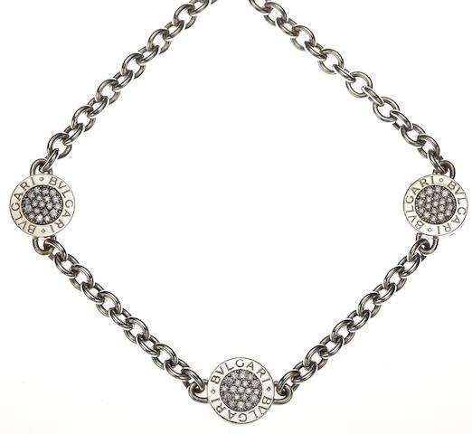 A diamond, black onyx and 18k white gold necklace, Bulgari