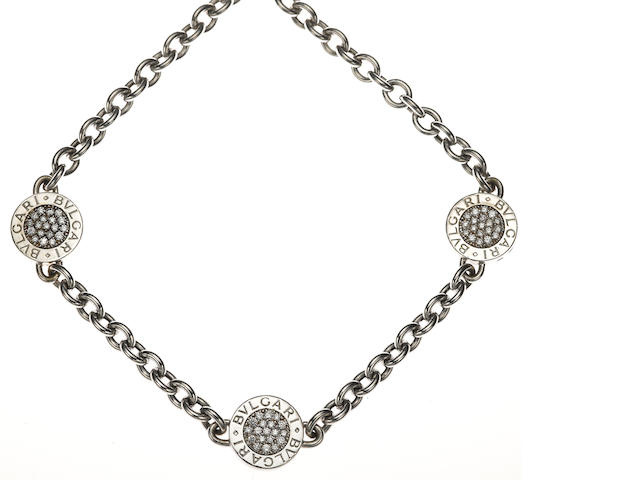 A diamond, black onyx and 18k white gold necklace, Bulgari