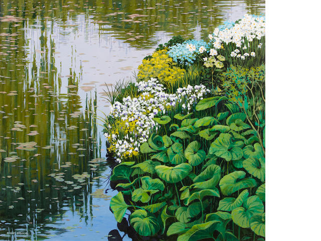 Robert Reynolds, Lily pond, 1997, signed and dated '1997', oil on canvas, 36 x 40in