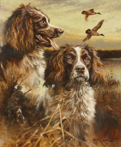 Mick Cawston (British, born 1959) Two Springer Spaniels in a marsh 24 x 20 in. (60.9 x 50.8 cm.)