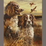 Mick Cawston (British, born 1959) A study of two dogs in a marsh 24 x 20in