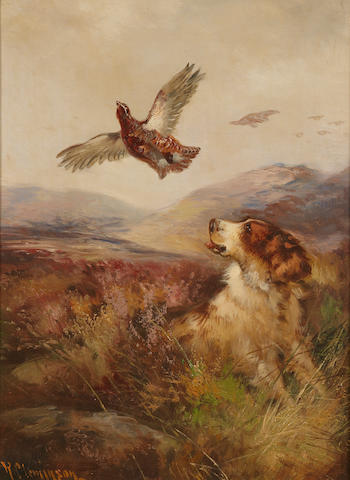Robert Cleminson (British, active 1865-1868) On the grouse moor 18 x 14in