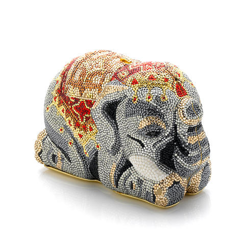 A Judith Leiber multi-colored crystal Maharaja elephant minaudière