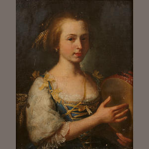 French School, 19th Century A portrait of a young woman with a tambourine 23 1/2 x 20in