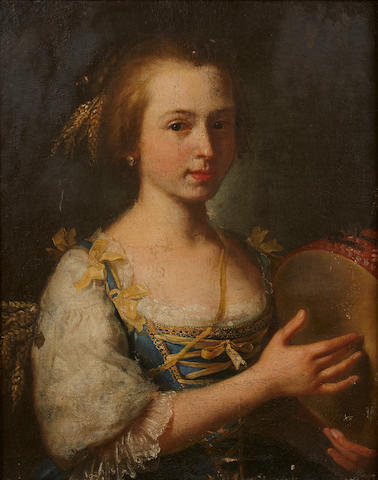 French School, 18th Century A portrait of a young woman with a tambourine 23 1/2 x 20in