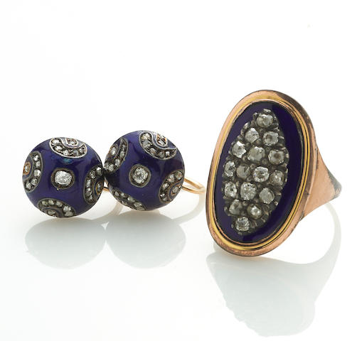 An antique diamond, enamel, and 10k gold ring, together with a pair of screwback earrings of similar design,