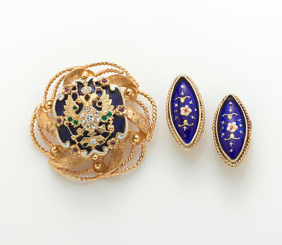 A diamond, gem-set, enamel, and 14k gold brooch together with a pair of enamel and 14k gold earclips
