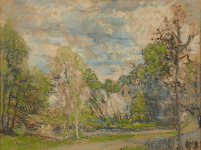 A.C. Goodwin, cottage landscape, pastel sight 17 1/2 x 23in