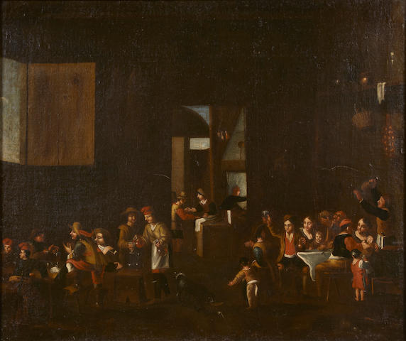 Dutch School Figures carousing in a tavern  26 1/2 x 31 1/2in